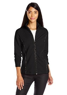 Jones New York Women's Mock Neck Jacket with Piping Black
