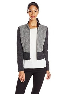 Jones New York Women's Mock-Neck Moto Jacket - Charcoal Multi