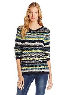 Jones New York Women's Petite Multi Stripe Stitched Pullover