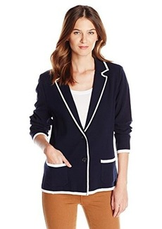Jones New York Women's Notch Collar Cardigan Navy