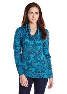 Jones New York Women's Paisley Print Cowl Neck Pullover Teal