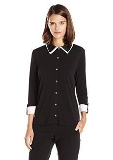 Jones New York Women's Petite 3/4 Sleeve Highlow Blouse