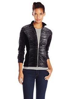 Jones New York Women's Petite Animal Print Zip Front Jacket