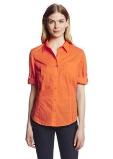 Jones New York Women's Petite Fitted Roll Elbow Sleeve Shirt