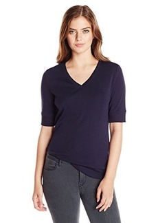Jones New York Women's Petite Half Sleeve V Neck Top