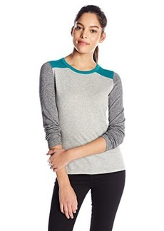 Jones New York Women's Petite Long Sleeve Crew Neck Color Blocked Pullover
