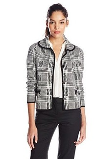 Jones New York Women's Petite Long Sleeve Plaid Stitch Cropped Jacket