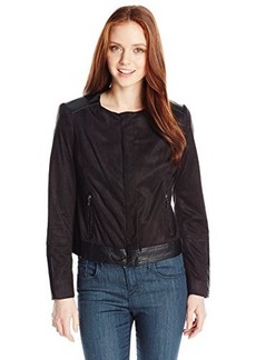 Jones New York Women's Petite Mixed Media Moto Jacket
