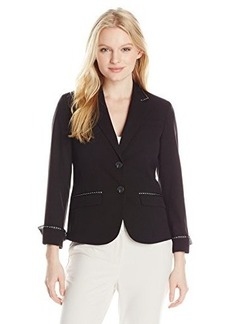 Jones New York Women's Petite Olivia Ribbon Trim Jacket Black