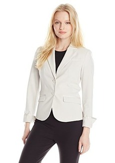 Jones New York Women's Petite Olivia Ribbon Trim Jacket Oyster
