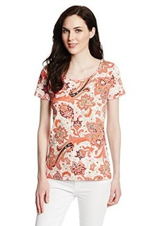 Jones New York Women's Petite Paisley Printed Short Sleeve Scoop Neck Top