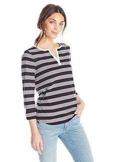 Jones New York Women's Petite Stripe Split NK Top Black Combo