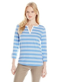 Jones New York Women's Petite Stripe Split NK Top Wedgewood Combo