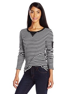 Jones New York Women's Petite Stripe Thermal Henley