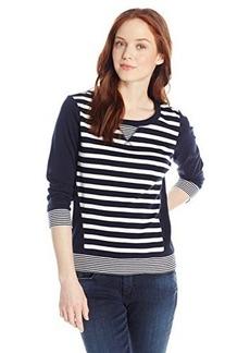 Jones New York Women's Petite Striped 3/4 Sleeve Pullover