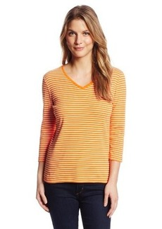Jones New York Women's Petite Striped 3/4 Sleeve V-Neck T-Shirt