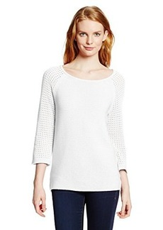 Jones New York Women's Petite Textured Raglan Sleeve Pullover