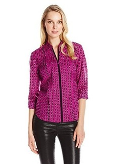 Jones New York Women's Pintucked Pull Over Top