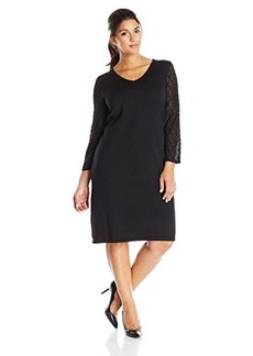 Jones New York Women's Plus-Size 3/4 Sleeve V-Neck Dress