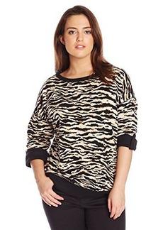 Jones New York Women's Plus-Size Animal Print Boat Neck Pullover
