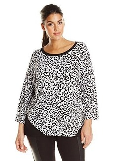 Jones New York Women's Plus-Size Animal Print Bottom Wrap Top