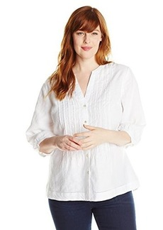 Jones New York Women's Plus-Size Band Collar Pleated Shirt with White