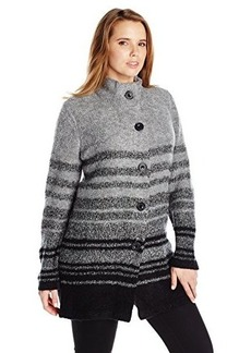 Jones New York Women's Plus-Size Boucle Stripe Mock Neck Jacket