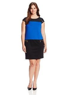 Jones New York Women's Plus-Size Cap Sleeve Color Blocked Dress
