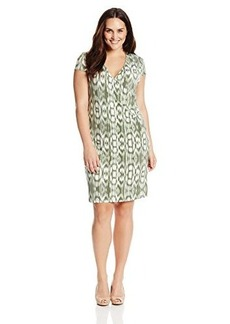 Jones New York Women's Plus-Size Cap Sleeve Faux Wrap Dress