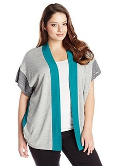 Jones New York Women's Plus-Size Colorblocked Over Sized Cardigan
