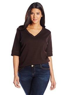 Jones New York Women's Plus-Size Half Sleeve V Neck Top