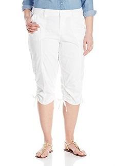 Jones New York Women's Plus-Size JSPJ Porkchop Pockets Capri Feat Jet White