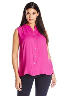 Jones New York Women's Plus-Size Knit Combo Shell Top