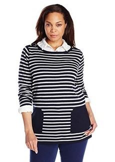 Jones New York Women's Plus-Size Long Sleeve Boat Neck Striped Pull Over