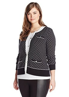 Jones New York Women's Plus-Size Long Sleeve Crew Neck Cardigan