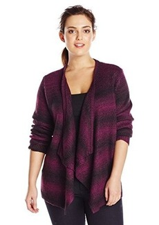 Jones New York Women's Plus-Size Long Sleeve Drape Front Cardigan
