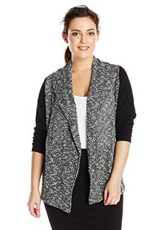Jones New York Women's Plus-Size Long Sleeve Drape Front Cardigan with Mixed