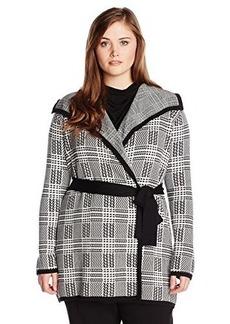 Jones New York Women's Plus-Size Long Sleeve Plaid Stretch Belted Cardigan