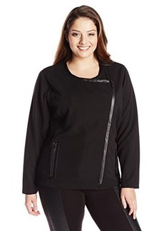 Jones New York Women's Plus-Size Long Sleeve Top Asymmetrical Cardigan