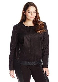 Jones New York Women's Plus-Size Mixed Media Moto Jacket