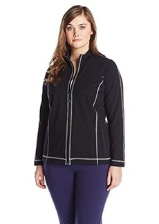 Jones New York Women's Plus-Size Mock Neck Jacket Black