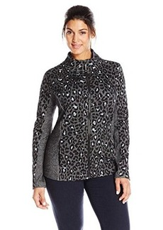 Jones New York Women's Plus-Size Printed Mock Neck Zip Front Jacket