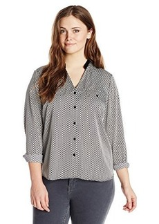 Jones New York Women's Plus-Size Ribbon Trimmed Utility Shirt