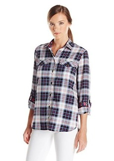 Jones New York Women's Plus-Size Roll Sleeve Safari Style Shirt
