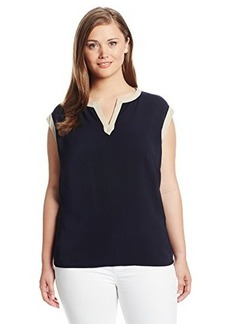 Jones New York Women's Plus-Size Short Sleeve Color Block Tunic