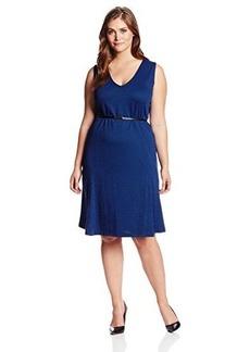 Jones New York Women's Plus-Size Sleeveless V-Neck Belted Dress