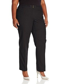 Jones New York Women's Plus-Size Straight Leg Pant with Rib Trim