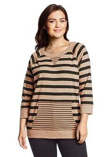 Jones New York Women's Plus-Size Stripe Raglan Sleeve Pullover