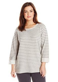 Jones New York Women's Plus-Size Stripe Scoop Neck Pullover with Studs