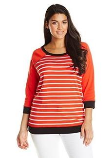Jones New York Women's Plus-Size Striped Raglan Pullover Top Multi